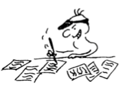 Cartoon of person scribbling furiously